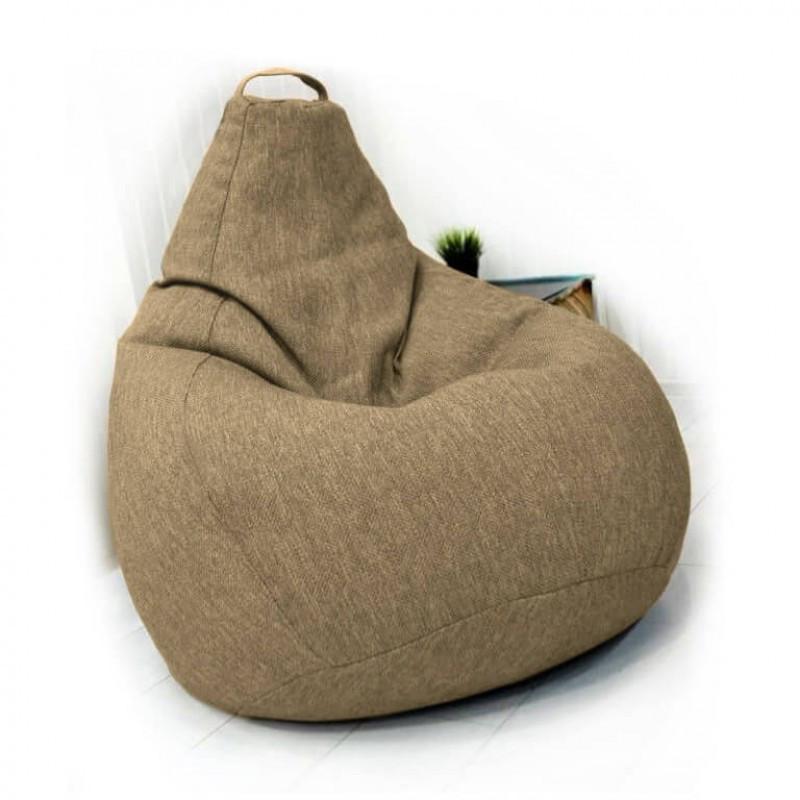 Кресло-груша KatyPuf светло-бежевое Рогожка, Размер XL 125x90