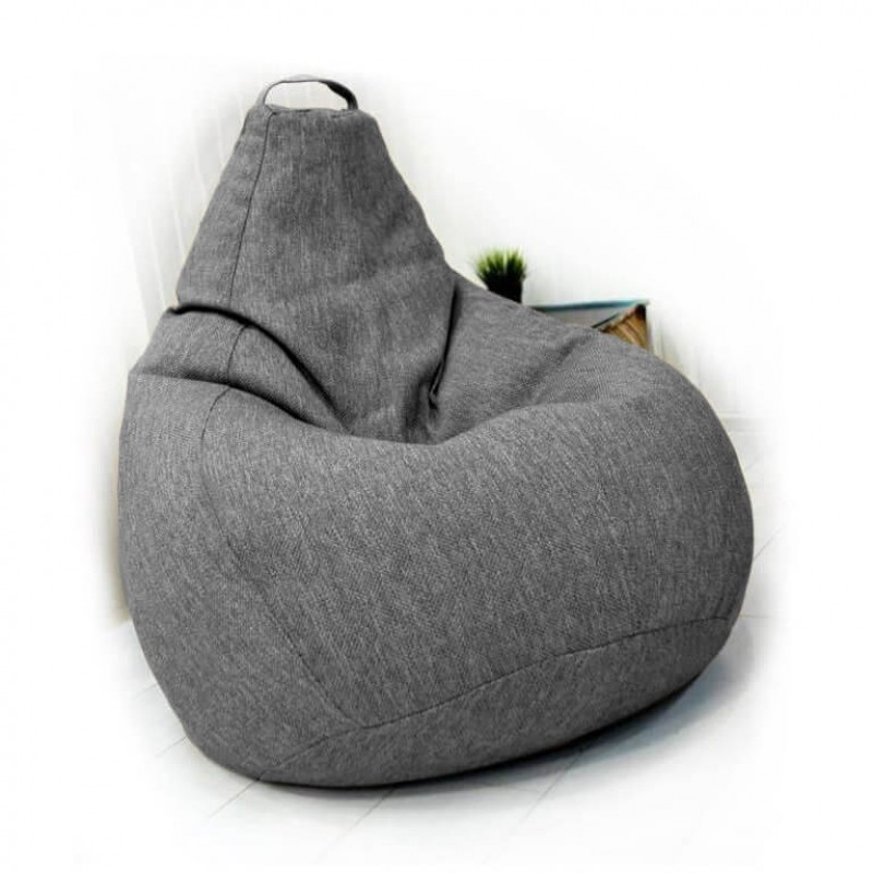 Кресло-груша KatyPuf светло-серое Рогожка, Размер XXL 140x100