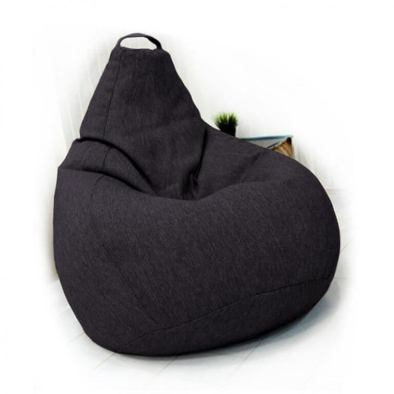 Кресло-груша KatyPuf темно-серое (фиолет) Рогожка, Размер XXL 140x100