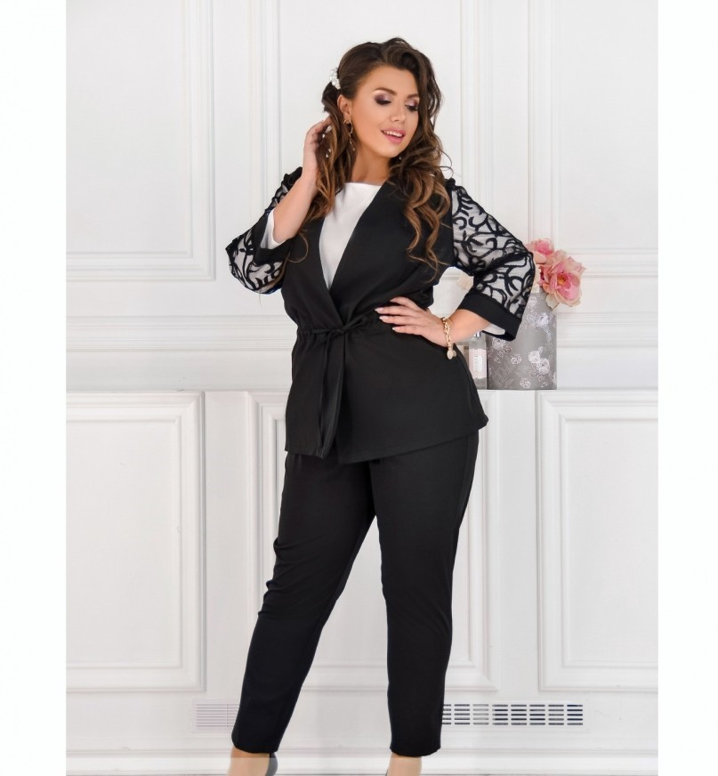 Нежный и элегантный костюм-тройка №684-черный