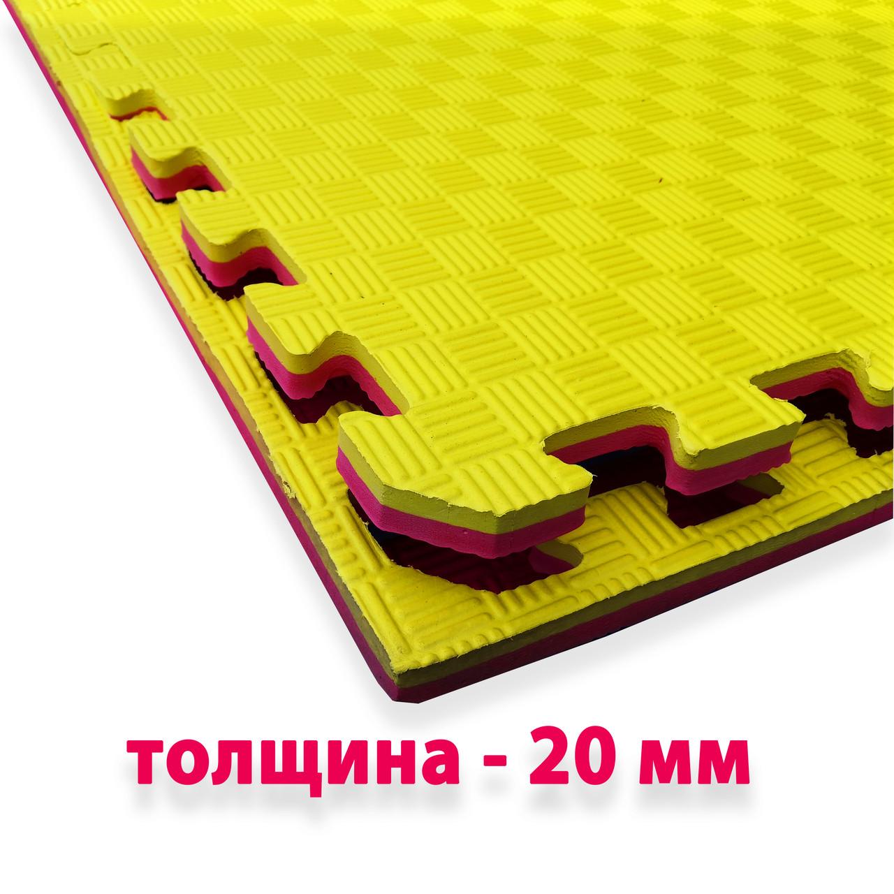 Спортивный мат (ТАТАМИ) 20 мм EVA (Турция), желто-красный