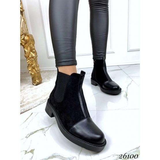 Женские ботинки черные демисезонные деми замшевые нат замша, жіночі чорні черевики демі замшеві