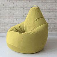 Кресло-груша KatyPuf желтое Велюр, Размер XXL 140x100
