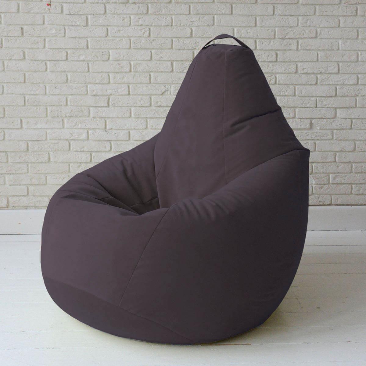 Кресло-груша KatyPuf темно-фиолетовое Велюр, Размер XL 125x90