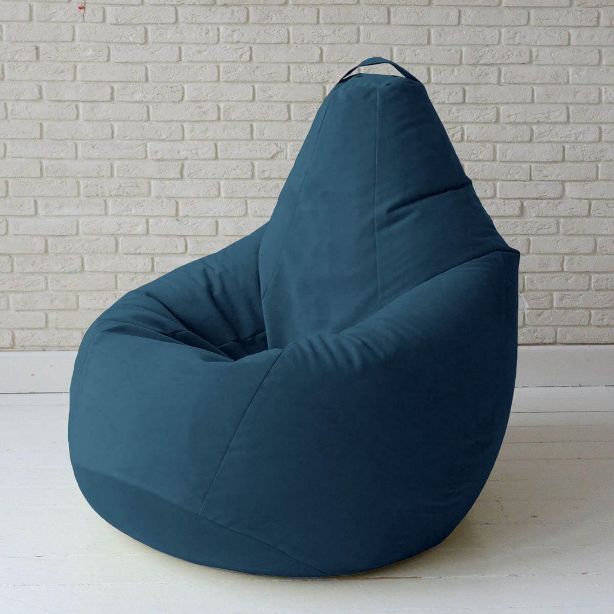 Кресло-груша KatyPuf темно-синее Велюр, Размер XXL 140x100