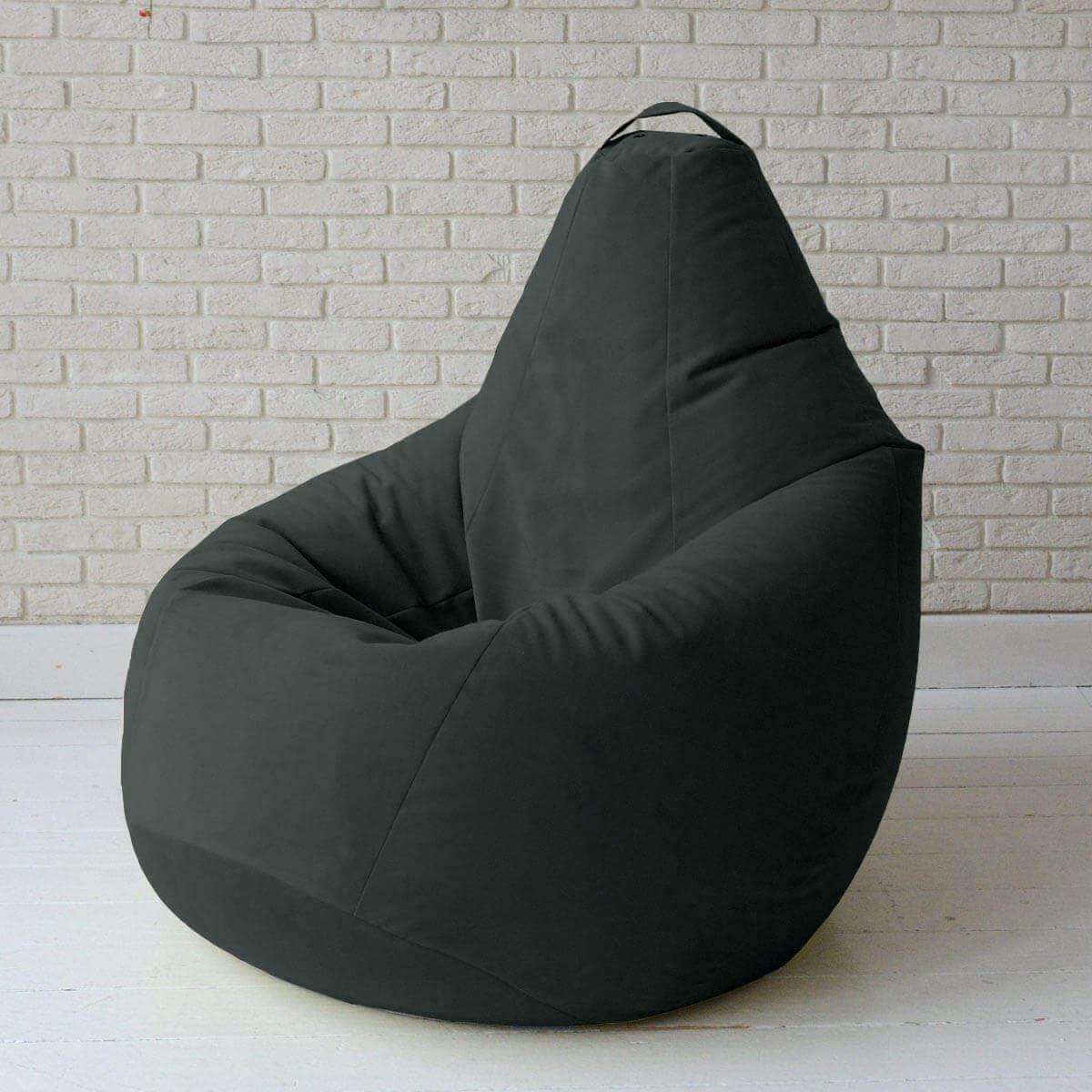 Кресло-груша KatyPuf черное с отливом Велюр, Размер XXL 140x100