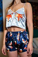 "Шелковая пижама. ""Лисичка"". Шелковая пижама женская. Размеры S,M,L. Шелковые пижамы женские. Пижама шелк."