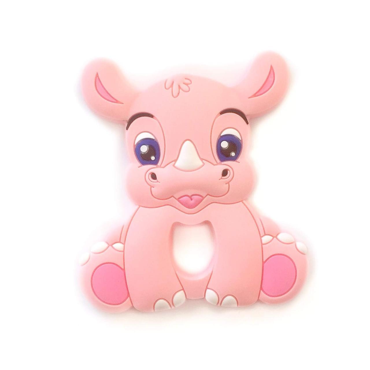 Носорог  (роза кварц), силиконовый прорезыватель для зубов