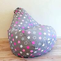 """Кресло-мешок KatyPuf """"Розовые звезды""""  Хлопок, Размер XXL 140x100, фото 1"""