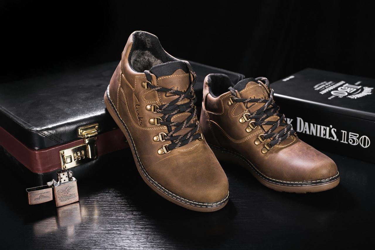 Мужские ботинки кожаные зимние оливковые Yuves 600