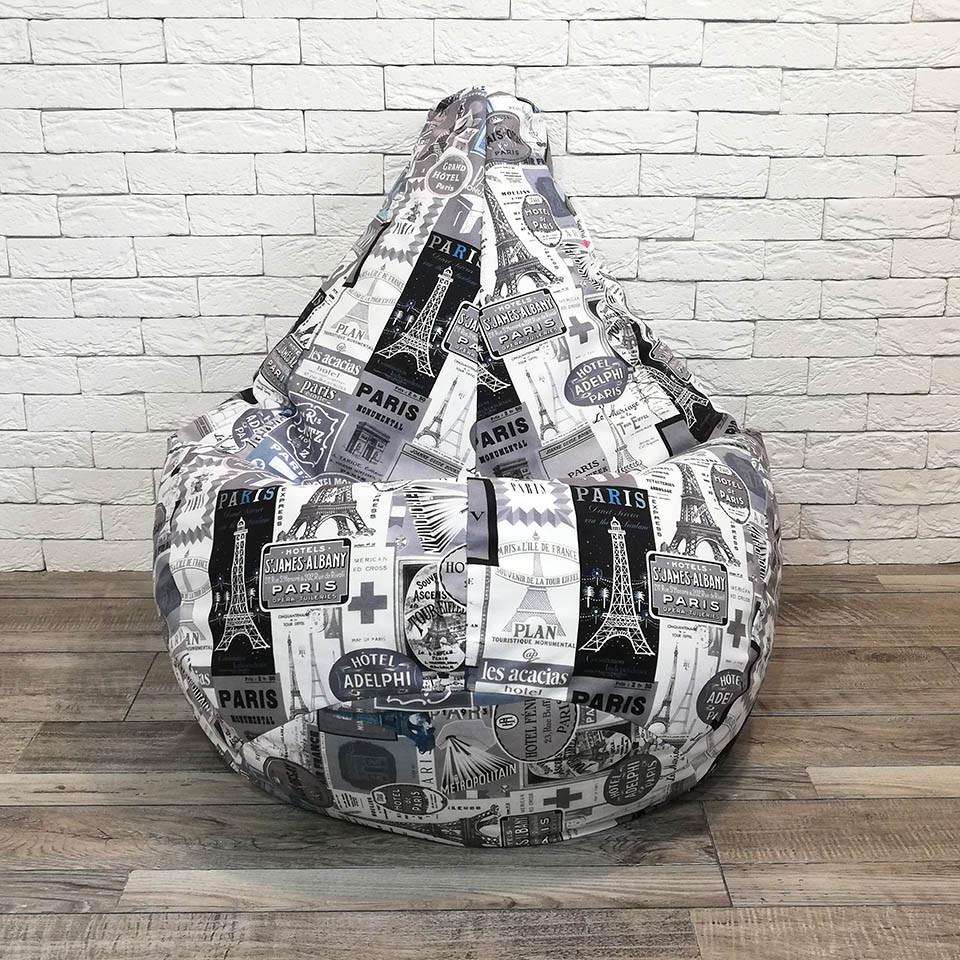 """Кресло-мешок KatyPuf Принт """"Париж"""" Велюр, Размер L 100x75"""
