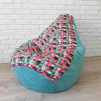 """Кресло-мешок KatyPuf Принт """"Макраме"""" Велюр, Размер XL 125x90"""