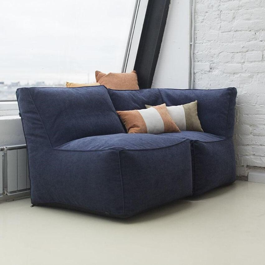 Модульное бескаркасное кресло KatyPuf велюр + угловое кресло