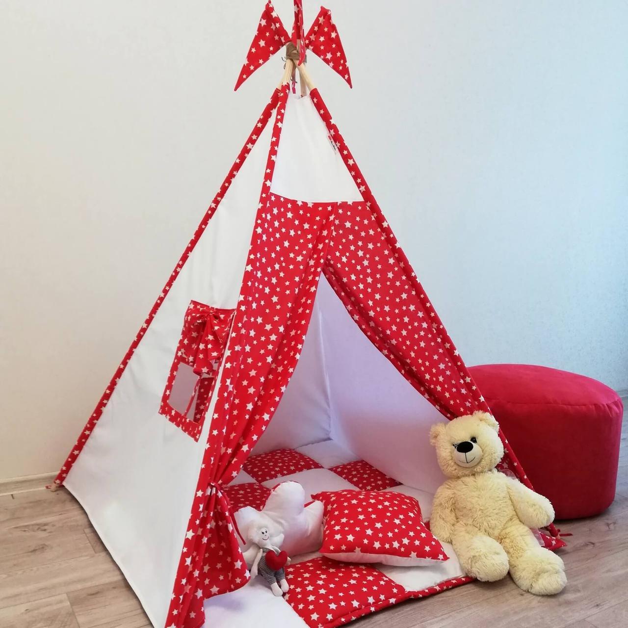 """Вигвам, детская палатка KatyPuf """"Красные Звезды"""" Без коврика!!"""