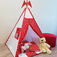 """Вигвам, детская палатка KatyPuf """"Красные Звезды"""" Без коврика!!, фото 1"""