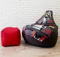 Комплект KatyPuf Кресло-груша Серое Рогожка Принт + Пуф, фото 1