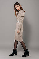 Бежевое облегающее платье, размер универсальный