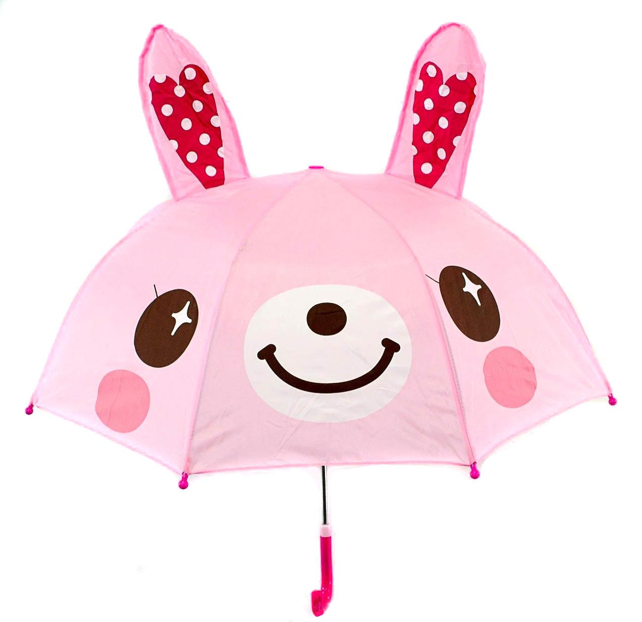 Зонт трость детский для девочек полуавтомат Luky Rain розовый с ушками на 2-5 лет. Детский зонтик.