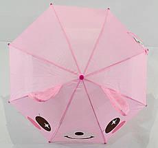 Зонт трость детский для девочек полуавтомат Luky Rain розовый с ушками на 2-5 лет. Детский зонтик., фото 2