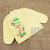 Детская тёплая р 56 0-1 мес как флисовая велюровая кофточка в роддом для новорожденных малышей 3221 Желтый А