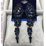 Вечірні сережки з чорними каменями, висота 7,5 див., фото 2