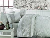 Комплект постельного белья сатин люкс c вышивкой евро Dantela Vita   Akel krem-bej