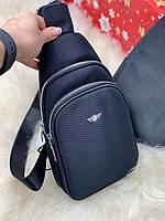 Черная мужская сумка через плечо слинг барсетка кросс-боди мессенджер текстиль