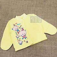 Детская тёплая р 56 0-1 мес как флисовая велюровая кофточка в роддом для новорожденных малышей 3221 Желтый
