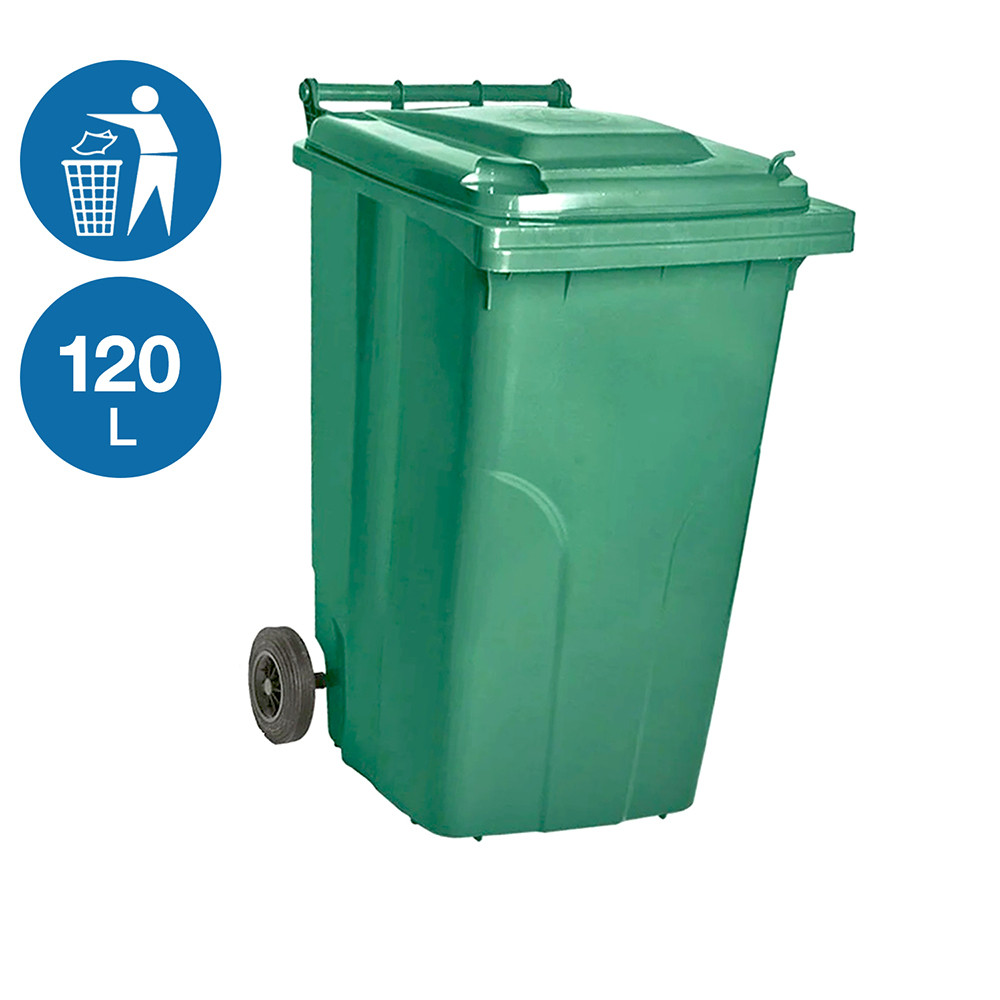 Контейнер для мусора уличный на колесах с крышкой 120 л пластиковый