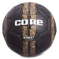 Мяч для уличного футбола CORE STREET SOCCER, вспененная резина, №5, 4 сл., сшит вручную, черный (CRS-044), фото 1