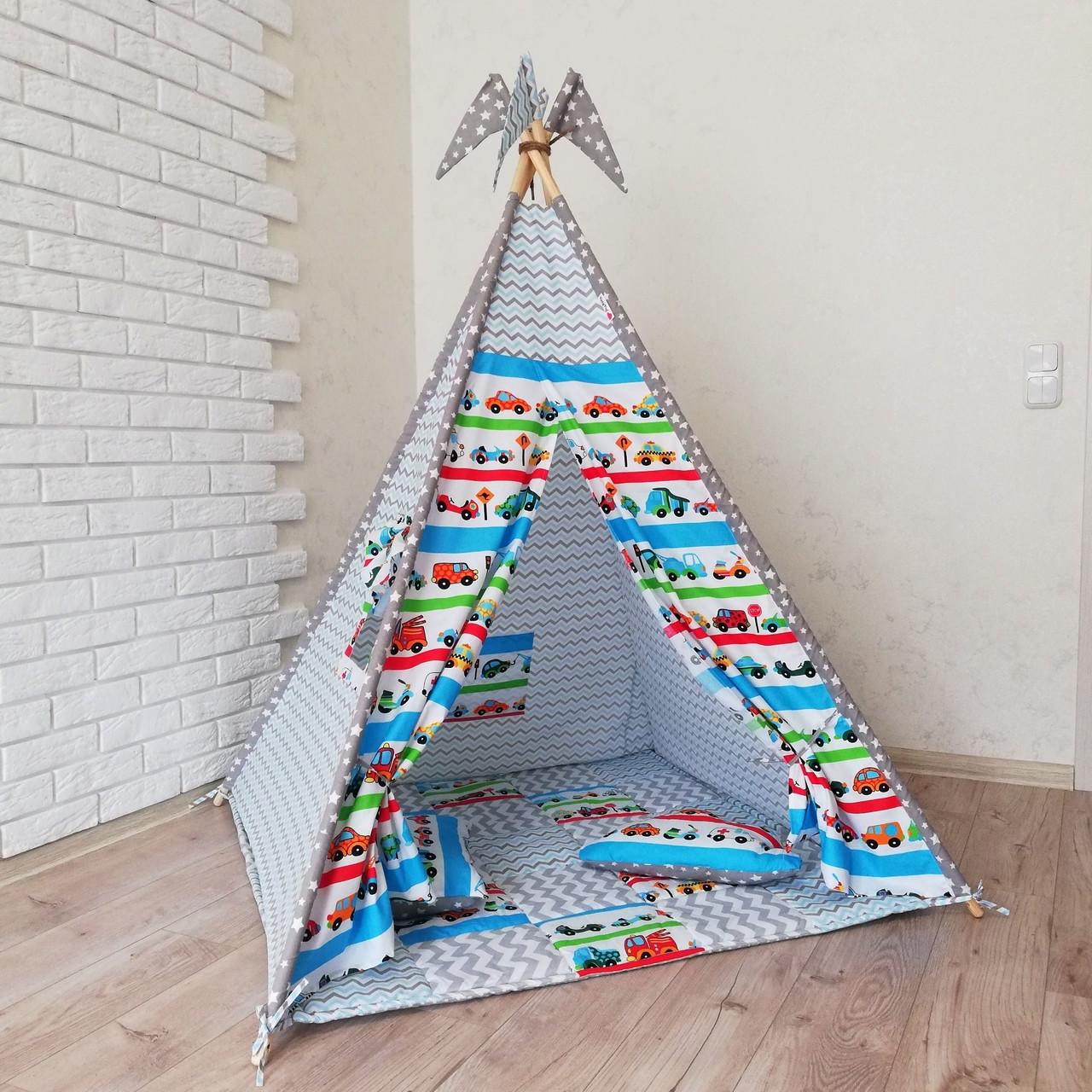"""Вигвам, детская палатка KatyPuf """"Машинки"""" Без коврика!!"""