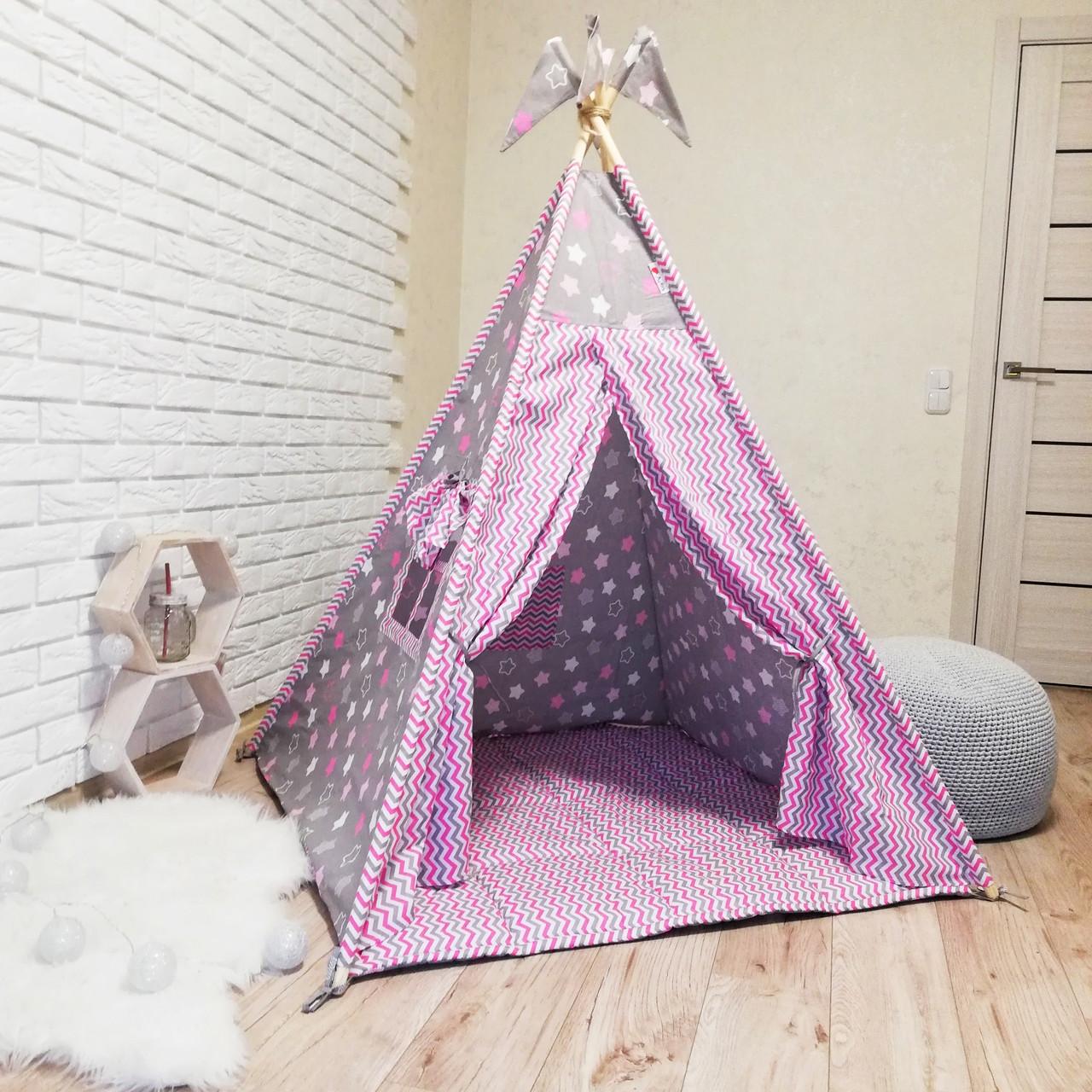 """Вигвам, детская палатка KatyPuf """"Розовые пряник"""" + коврик стеганный."""
