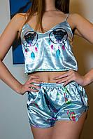 """Шелковая пижама. """"Сова"""". Шелковая пижама женская. Размеры S,M,L. Шелковые пижамы женские. Пижама шелк."""