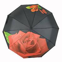 Женский складной зонт полуавтомат Feeling Rain с красной розой, черный, 469-1