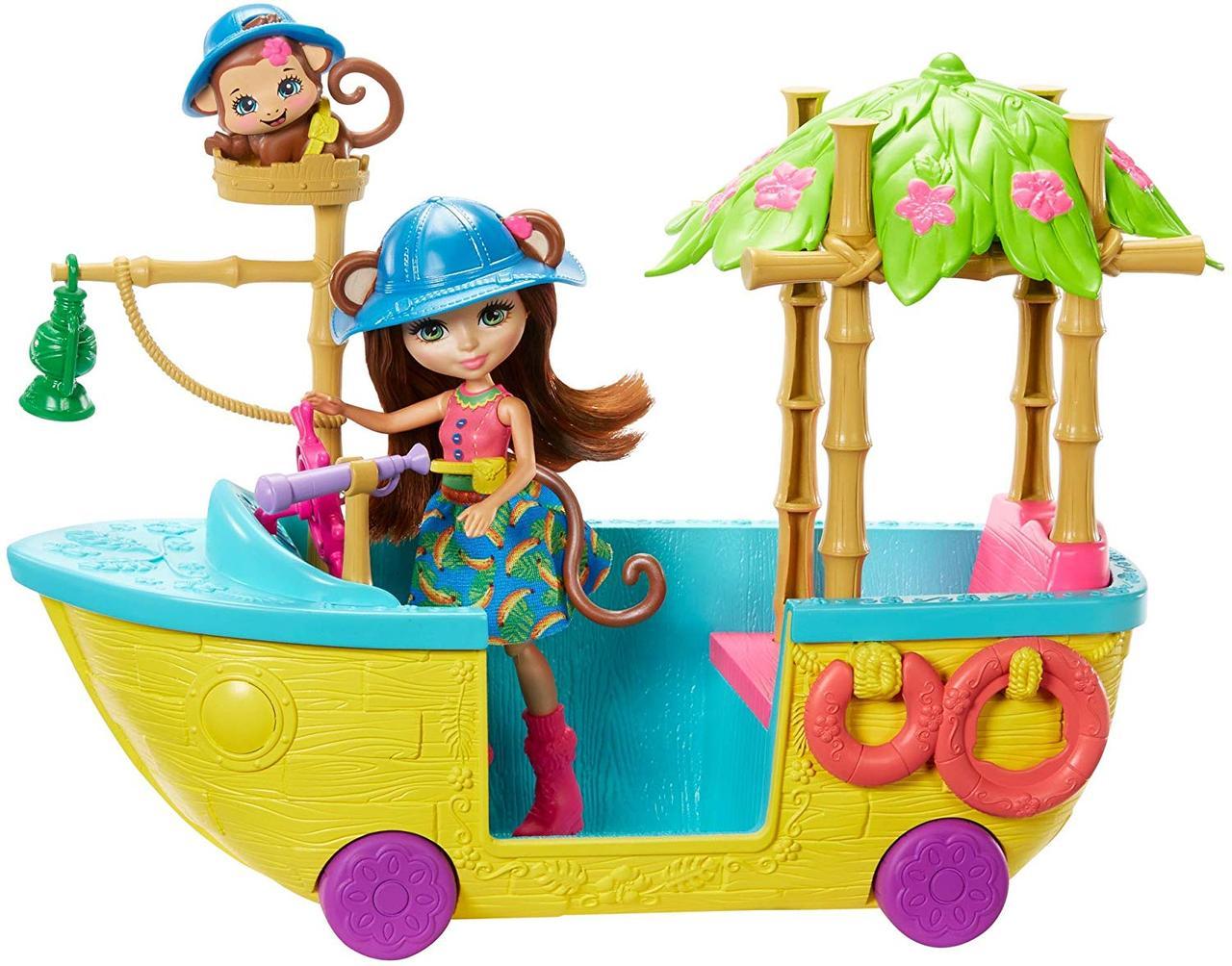 Энчантималс лодка обезьянки Мерит и питомца Компасом Enchantimals Junglewood Boat & Merit Monkey Doll