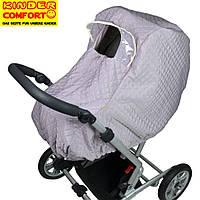 Дождевик - ветрозащита зимний на коляску люльку универсальный цвет платиновый, Kinder Comfort