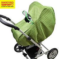 Дождевик - ветрозащита зимний на коляску люльку универсальный зеленый Kinder Comfort