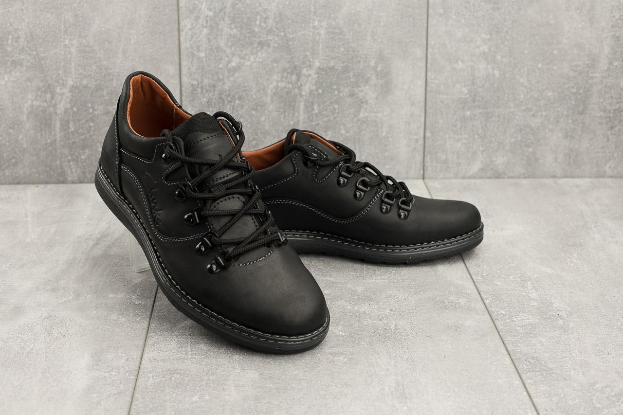 Мужские кожаные туфли весна/осень черные-матовые Yuves 650