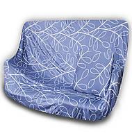 🔝 Универсальный еврочехол на одноместный диван кресло (Синий с узором) 90-140 см | накидка чехол | 🎁%🚚