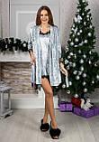Оксамитовий жіночий комплект Халат, нічна сорочка Розмір 42 44 46 48 В наявності 5 кольорів, фото 3