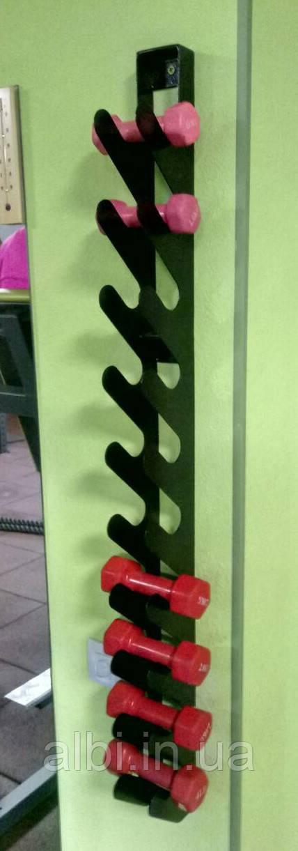 Стойка для фитнес гантелей настенная на 12 шт