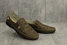 Чоловічі сандалі шкіряні літні оливкові Vankristi 1151