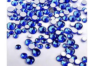 Стразы микс размеров синие  (стекло) 100 штук