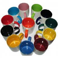 Чашка цветная внутри и с цветной ручкой с Вашим изображением - 330 мл