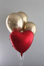 Набор Шариков Сердце в золоте