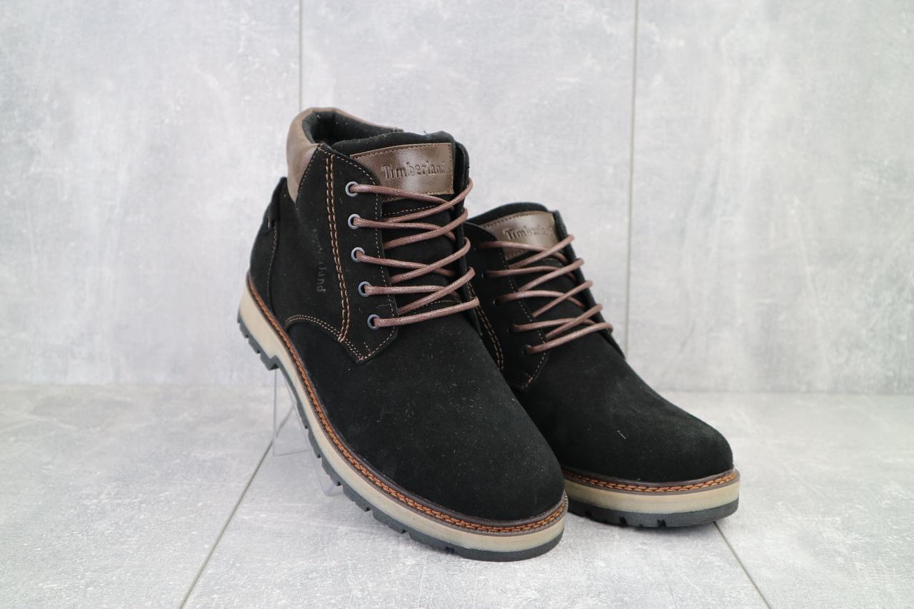 Мужские ботинки замшевые зимние черные Yuves 775