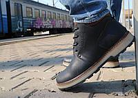 Мужские ботинки кожаные зимние черные-матовые Yuves 781, фото 1