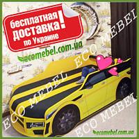 Кровать машина Премиум Land Rover желтый с матрасом