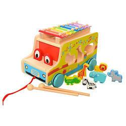Деревянная детская игрушка WoodToys сортер, машинка, каталка, ксилофон, 28,5х18,5х18,5 см.