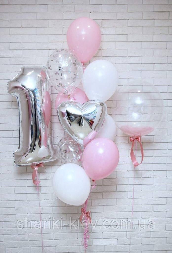Композиция для девочки с цифрой, шаром баблс, сердцем и цветными латексными шарами